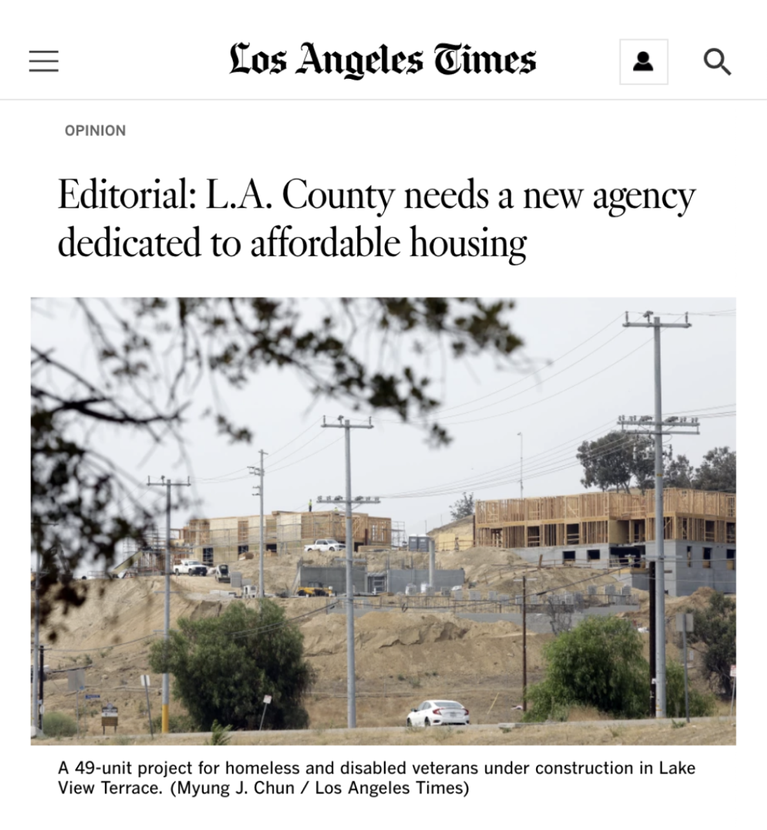LA Times - L.A. County needs a new agency dedicated to affordable housing